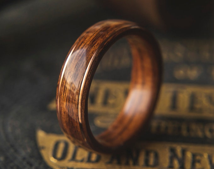 Mens Wedding band made from Santos Rosewood with 2 thin copper wire inlay, Mens engagement ring, Mens promise ring