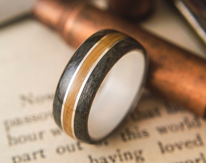 Wedding band with Antler, Grey Maple, Whisky Barrel and Silver wire Mens Wedding ring, Wooden wedding band, wooden ring, wedding rings