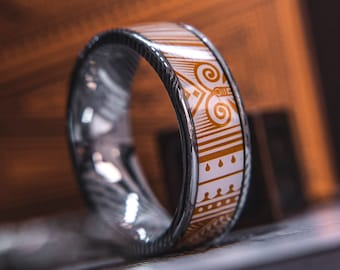 Mens Wedding band in Damascus Steel and Copper Invocation Feat. KingsWildProject luxury playing cards.