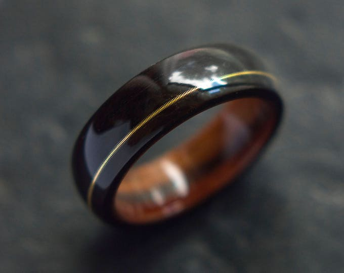 Mens Wedding band made from Santos rosewood, Ebony and Guitar string inlay, Mens engagement ring, Mens promise ring