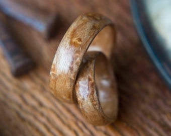 Pair of Wood Wedding bands made from Birds eye Maple,  Wood wedding rings, promise ring