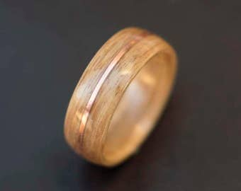Mens Wedding band made from Oak and Copper, Mens engagement ring, Mens promise ring