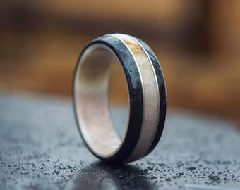 Antler, sterling silver and Black dyed veneer Wooden ring, Classy wooden ring, Wooden wedding band, Unisex wooden ring, wedding rings //