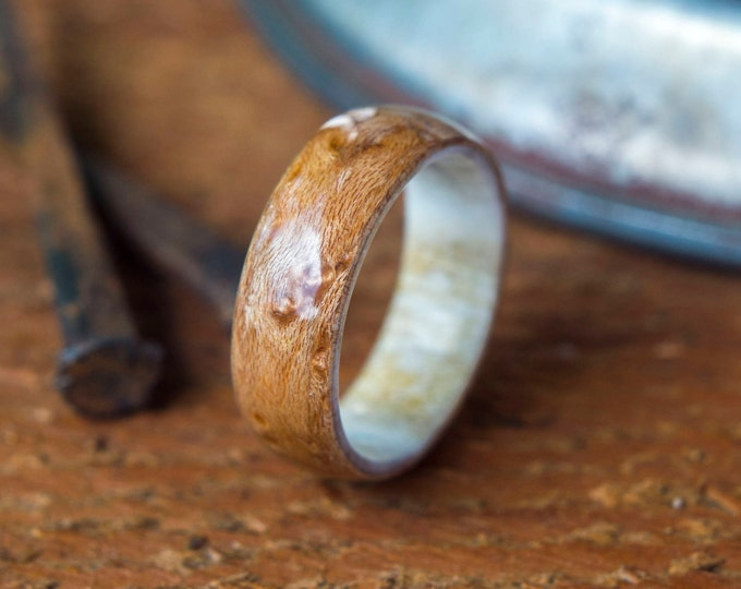 Antler and Birds eye Wedding band, wood Ring, Wooden wedding band, Unisex wooden ring, wedding rings, //  Made in Canada