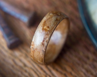 Mens Wedding Band made from Birds eye maple, Mens promise ring