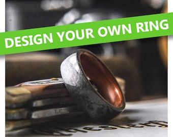 Design your own Mens Wedding Band.  Mens wedding ring, mens wood wedding band