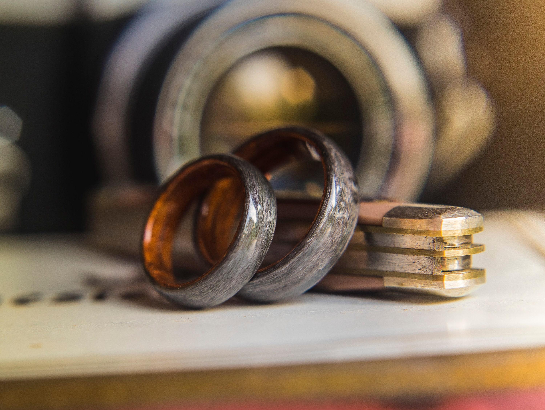 Wood Wedding Rings.Pair Of Rosewood And Grey Birds Eye Maple Wooden Wedding Rings