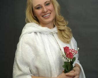 Pamper yourself in this Unique Cloak Beautiful for a Wedding, Holiday or Special Event.  Elegant Hooded Cloak / Bridal Cape