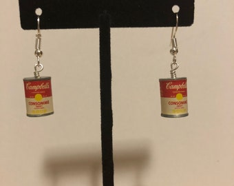 Campbell's soup miniature earrings