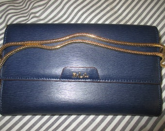 NWT LAUREN by Ralph Lauren Tate Leather Mini Chain Crossbody Navy Cocoa
