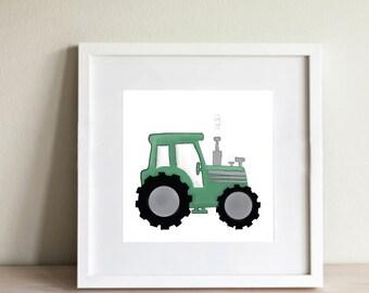 Tractor Nursery Print | Green Tractor | Farm