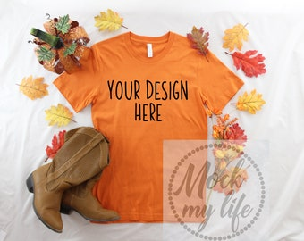 Download Free Burnt Orange Bella Canvas 3001 Fall Flat Lay Mockup/Fall Mock up/Styled Mockup/Orange Shirt Mockup/Styled Product Photography/Thanksgiving PSD Template
