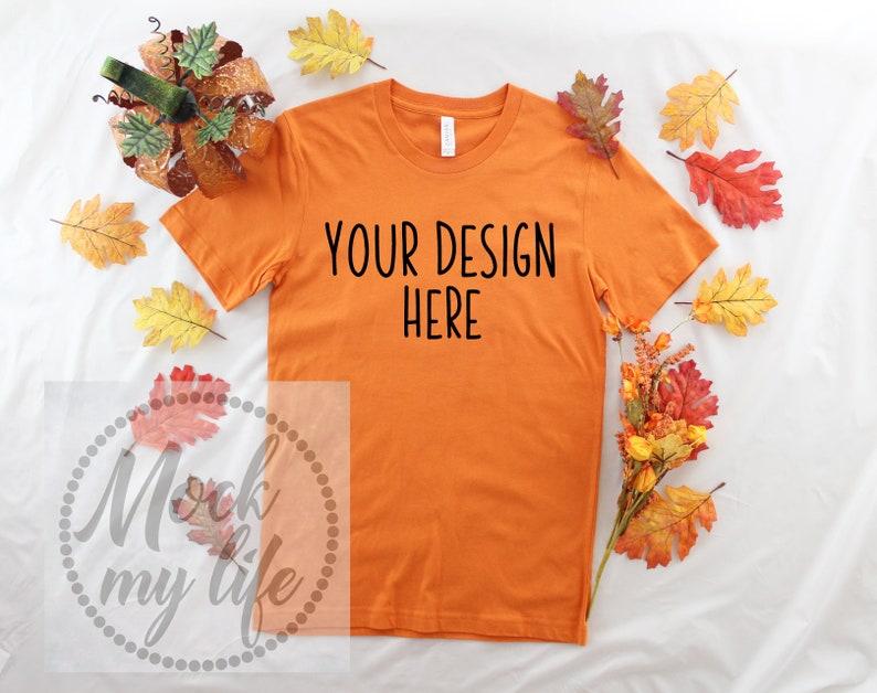 a880dd0c544980 Burnt Orange Bella Canvas 3001 Fall Flat Lay Mockup Fall Mock
