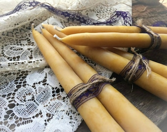 "Hand-Dipped 8"" Beeswax Tapers {sold as a wrapped pair of 2 candles}"
