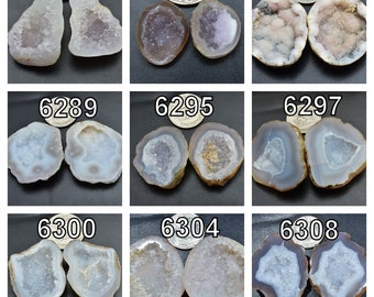 7078-79 10 Pair Natural White Agate Geode Druzy Pair BeadsWhite Open Geode Pair 22x32x10-28x36x7mm 770 Cts