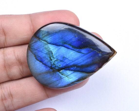 Labradorite de feu bleu fort fort fort naturel poire Cabochon lâche Pierre pour les bijoux faits main 34x46x7mm 81 Cts (8750-59) aba75c