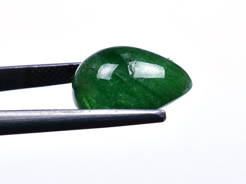 Rare Big Size Tsavorite Green Garnet Smooth Pear Cabochon Loose Gemstone 12x15x8mm 11.60 Cts 8926-28