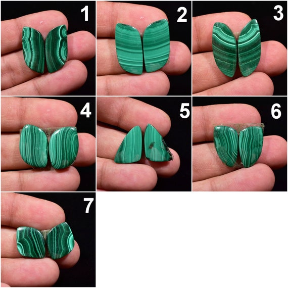 Natural Malachite Fancy Pair Cabochon For Earrings MPL6