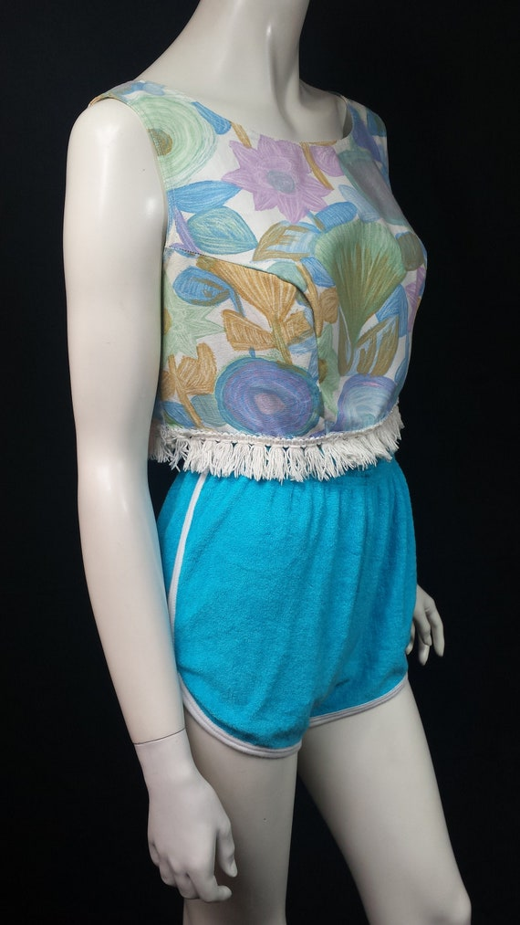 Vintage 1950s Fringed Sleeveless Box Crop Top by … - image 9