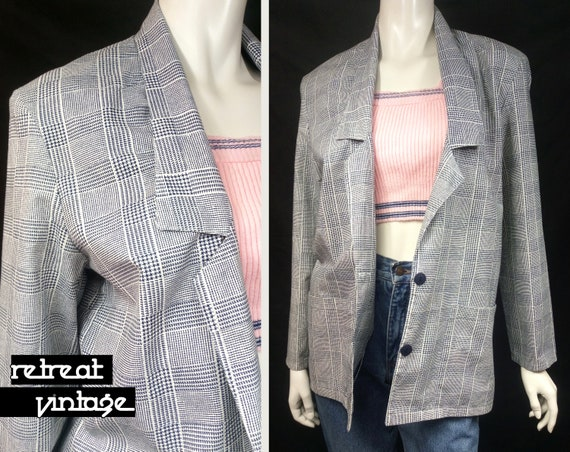 Vintage 1980s Oversized Check Plaid Dogtooth Blaze