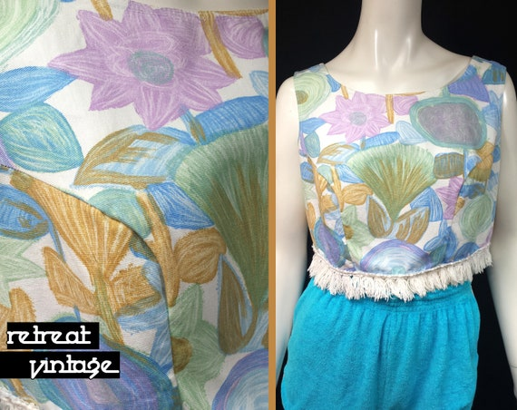 Vintage 1950s Fringed Sleeveless Box Crop Top by E