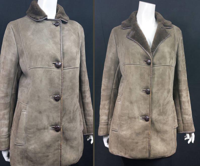 082553b5f7bfa0 Vintage 1970s real Suede Sheepskin Coat light Brown SIZE: UK 6 | Etsy