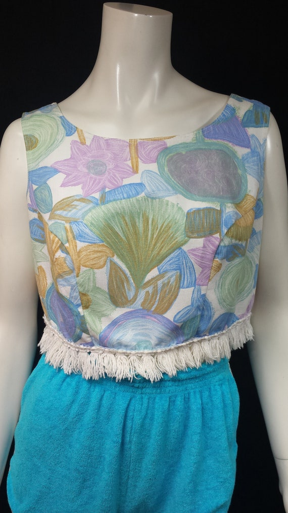 Vintage 1950s Fringed Sleeveless Box Crop Top by … - image 3