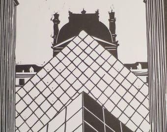 The Louvre pyramid - Linocut