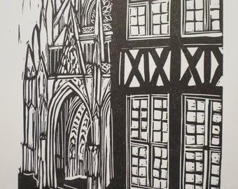 Rouen - linocut