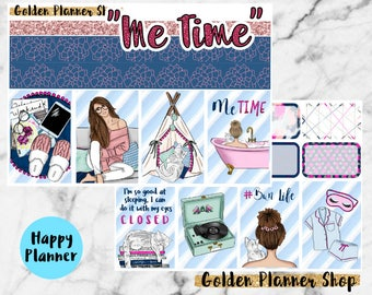 Me Time Weekly Sticker Full Kit, Planner Stickers for Happy Planner