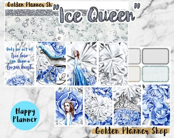 Ice Queen Weekly Sticker Full Kit, Planner Stickers for Happy Planner