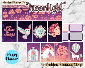 Moon Light Weekly Sticker Full Kit, Planner Stickers for Happy Planner