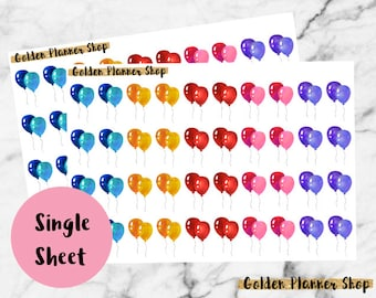Birthday Balloons Stickers for Erin Condren Life Planner, Happy Planner, Recollections Planner