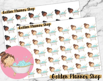 Bath Time Character Planner Stickers - Sophie and Amanda