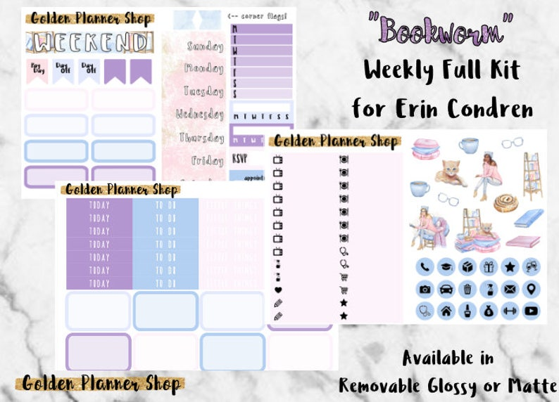 Bookworm Weekly Sticker Full Kit, Planner Stickers for Erin Condren  Vertical Planner