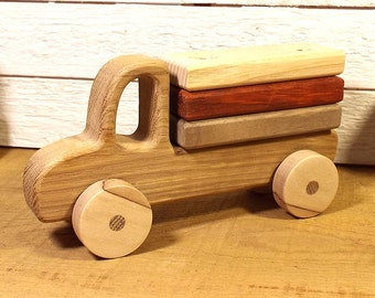 Montessori toy. Wooden Car Lumber Truck. Wooden Toy. Teething toy. Stacking Toy