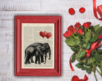 """Giraffes Love Heart Balloon Art Print, """"Love"""" Reproduction Dictionary Page Art Print , Valentine A4 Wall Art Dictionary Page"""
