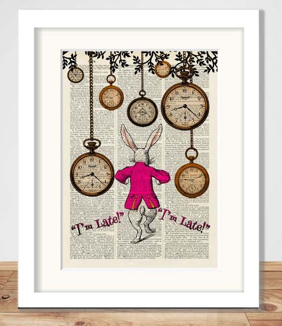 Antique Book page Art Print Alice in Wonderland White Rabbit Nursery Wall Art