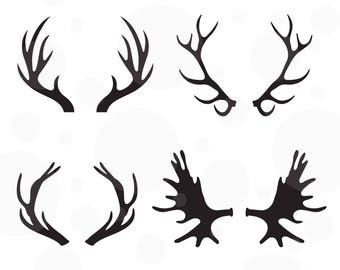 Antlers SVG, Set of 4 vectors, Cut File for Silhouette and Cricut machines, instant download, hunting svg, studio files, deer antlers