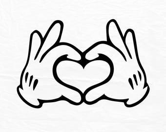Glove Mouse Hand Heart Love Design, Love SVG, Disney Heart Hands, Disney fans design, Disney love sign, Mickey hands, Digital files, SVG