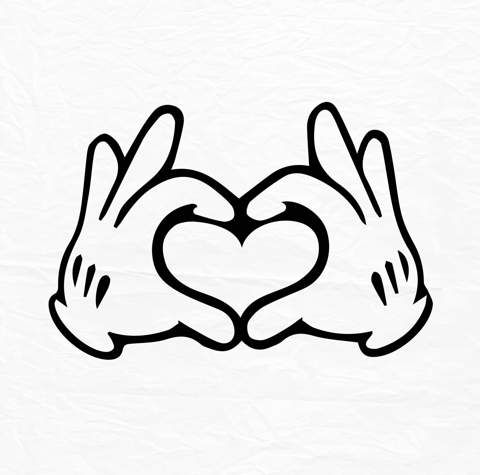 Glove Mouse Hand Heart Love Design Love SVG Disney Heart ...