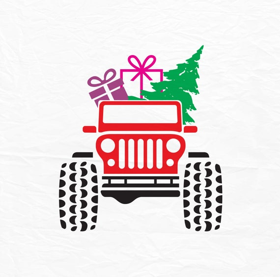 Christmas Jeep Silhouette.Jeep Svg Christmas Svg Christmas Tree Svg Red Truck Svg Christmas Truck Svg Cutting Files Instant Downloads