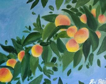 "Colorful Original Peach Tree Painting, Acrylic on Canvas, 9"" x 12"""