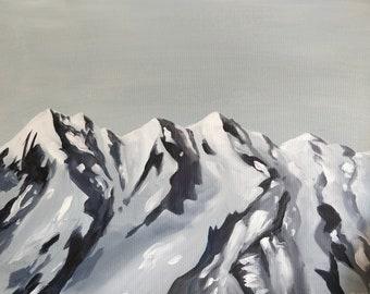 "Snowy Mountain Landscape Original Painting, Acrylic on Canvas, 16"" x 20"""