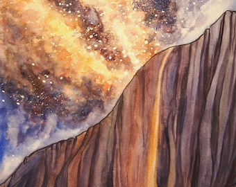 Watercolor Horsetail Falls Print