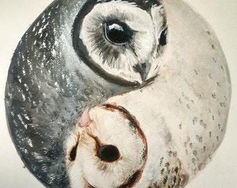 Watercolor Yin-Yang Owl Print