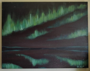 "Northern Lights Aurora Borealis ""Virmalised"" Landscape Original Painting, Acrylic on Canvas, 14"" x 18"""