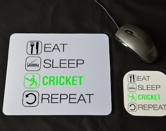 Mouse Pad /& Coaster Set RUGBY GIFT Eat Sleep Rugby Desk Decor PC Computer Accessory Graduation Qualified Birthday Novelty Coworker Gift