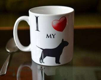 DOG LOVER Gift. I Love My English Bull Terrier Sublimation Printed Coffee Mug.