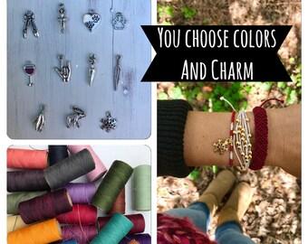 Macrame bracelet set, Set of 3, You choose colors and charm, Pura vida stacking Bracelets, Charm bracelet, personalized bracelet set,